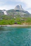 Foto van de huizen van de Haven in Svovlvaer Stock Foto