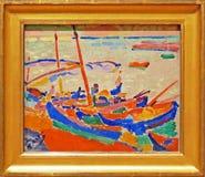 Foto van de originele het schilderen ` Vissersboten ` door André Derain Royalty-vrije Stock Afbeelding