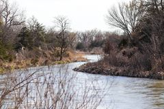 foto van de platte rivier in Nebraska stock foto's