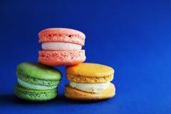 Foto van dessert op blauwe backround Voedselfoto Royalty-vrije Stock Afbeeldingen