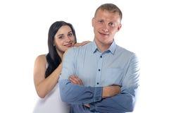 Foto van donkerbruine vrouw en de blonde mens Royalty-vrije Stock Afbeelding