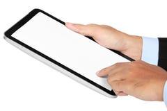 Foto van een tablet door een hand van zakenman verticaal wordt gehouden die stock foto's