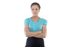 Foto van ernstige vrouw in blauwe blouse Royalty-vrije Stock Afbeeldingen
