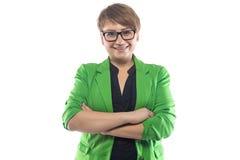 Foto van glimlachende ronde vrouw met gekruiste wapens Stock Afbeeldingen