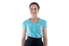 Foto van glimlachende vrouw in blauwe blouse Royalty-vrije Stock Fotografie