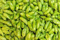 Foto van grondstof van groene Spaanse pepers royalty-vrije stock afbeeldingen