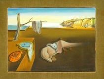 Foto van het beroemde originele schilderen: ` De Persistentie van Geheugen ` door Salvador Dali wordt geschilderd dat stock foto