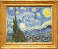 Foto van het beroemde originele schilderen: ` De Sterrige Nacht ` door Vincent Van Gogh Royalty-vrije Stock Afbeeldingen