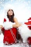 Foto van het meisje van de Kerstman Stock Foto's