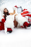 Foto van het meisje van de Kerstman Stock Afbeelding