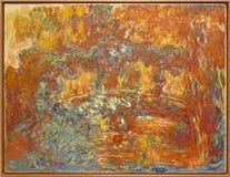 Foto van het originele schilderen ` de Japanse Voetgangersbrug ` door Claude Monet Stock Afbeeldingen