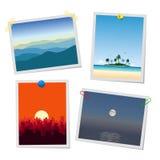Foto van landschap, bergen, eiland, stad en overzees Kaarten of herinneringenmalplaatjes in bijlage met punaisen, paperclips en vector illustratie