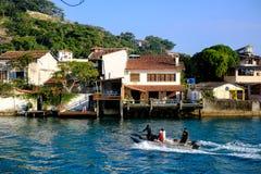 Foto van Marapendi-kanaal in Barra da Tijuca, Rio de Janeiro, Br Stock Afbeelding