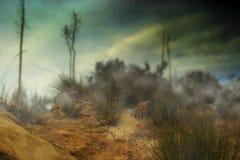 Foto van mistige woestijnheuvel Royalty-vrije Stock Foto