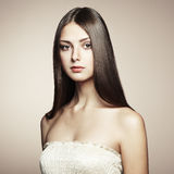 Foto van mooie jonge vrouw. Uitstekende stijl Stock Afbeelding