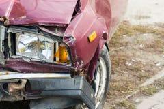 Foto van schade aan de auto na het ongeval Plaats voor uw tekst stock afbeelding