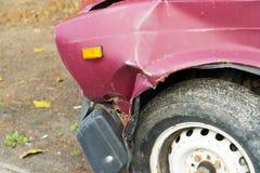 Foto van schade aan de auto na het ongeval Plaats voor uw tekst royalty-vrije stock afbeeldingen