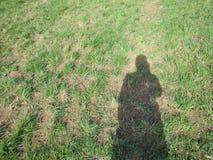 Foto van schaduw van meisje op grasrijke weide Stock Afbeeldingen