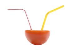 Foto van tomaat met stro Stock Foto