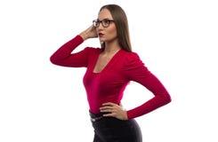 Foto van vrouw die de afstand onderzoeken Stock Afbeeldingen