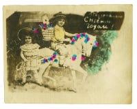 Foto variopinta dell'annata di giovane coppia di bellezza Immagine Stock