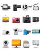 Foto, vídeo, iconos de la película -- Serie superior Foto de archivo libre de regalías