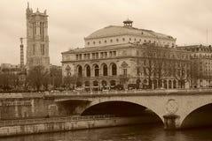 Foto velha de Seine River Paris, França Fotografia de Stock Royalty Free