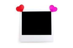 Foto vermelha do coração e do polaroid Foto de Stock