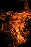 Foto vertical de la llama enorme en el fondo oscuro aislado fotos de archivo libres de regalías