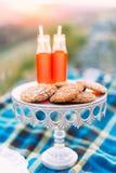 A foto vertical do close-up da placa branca com cookies e as duas garrafas de vidro com suco de laranja nas montanhas Fotos de Stock Royalty Free