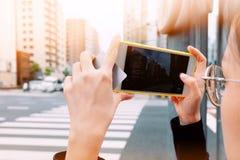 Foto vid Smartphone arkivfoton