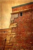 Foto vieja con el detalle de la pared 4 de la fortaleza Foto de archivo libre de regalías