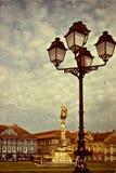 Foto vieja con Union Square en Timisoara imagenes de archivo