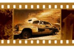 Foto vieja del marco con el coche retro Fotografía de archivo