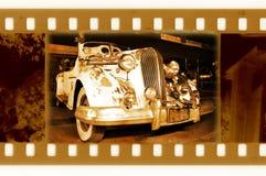 Foto vieja del marco de 35m m con el coche retro Fotografía de archivo libre de regalías