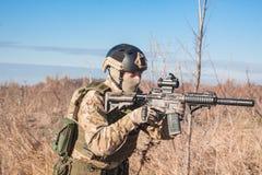 Foto von airsoft Soldaten auf den Gebieten Stockbilder