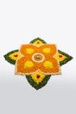 Foto von Blume rangoli für diwali oder pongal auf Lager oder onam Lizenzfreie Stockfotos
