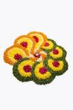 Foto von Blume rangoli für diwali oder pongal auf Lager oder onam Stockfotografie