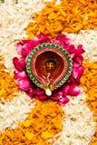 Foto von Blume rangoli für diwali oder pongal auf Lager oder onam Lizenzfreie Stockbilder