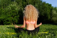 Foto von der Rückseite des übenden Yoga des weiblichen Athleten auf Wolldecke Stockbilder