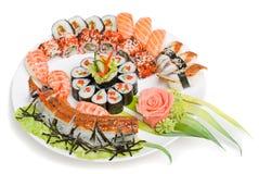 Foto von gerollt und von einem Sushi lizenzfreie stockfotografie