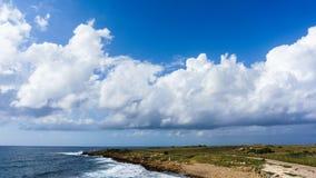 Foto von Meer, bewölkter Himmel, Küstengebiet mit Vegetation Stockfotografie