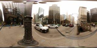 foto 360vr di Chicago del centro U.S.A. Fotografia Stock Libera da Diritti