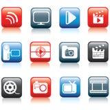 Foto y conjunto del icono de los multimedia stock de ilustración