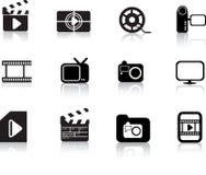 Foto y conjunto del icono de los multimedia Fotos de archivo libres de regalías