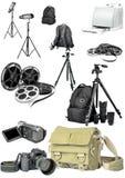 Foto y equipo del cine Imagen de archivo libre de regalías