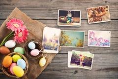 Fotoalbum i minne och nostalgi av den lyckliga easter dagen arkivbild