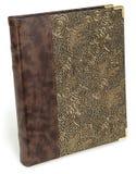 Fotoalbum med modellen för textil för ecolädermyra den blom- Guld- lyx snör åt texturboken med rosor Royaltyfri Foto