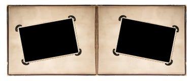 Fotoalbumseite mit Retrostilrahmen und -ecken Lizenzfreies Stockfoto