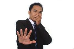 Fotobeeld van een knappe aantrekkelijke jonge Aziatische zakenman zonder handgebaar Stock Fotografie